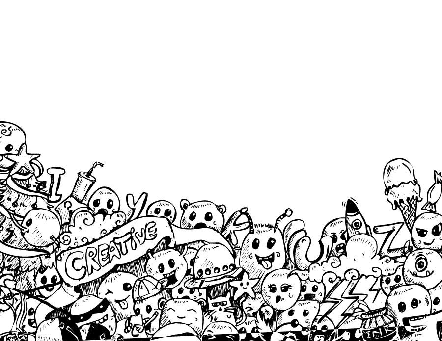 Dessin coloriage personnage doodle à compléter
