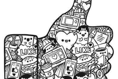 Coloriage icones Facebook like gratuit à imprimer