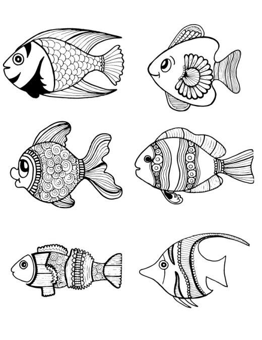 Page artherapie pour adulte coloriage animaux poisson