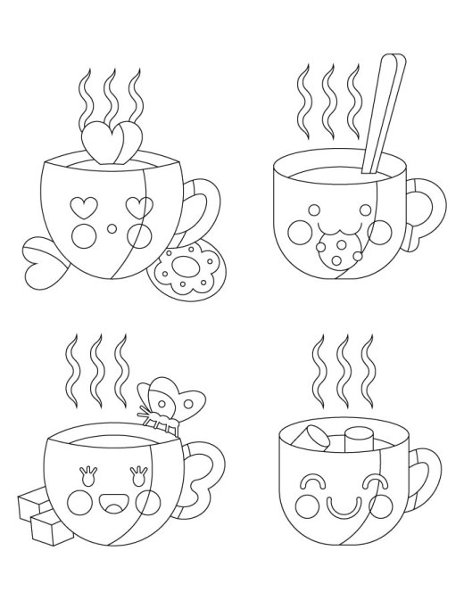 Adorables tasses image a colorier coloriage art therapy