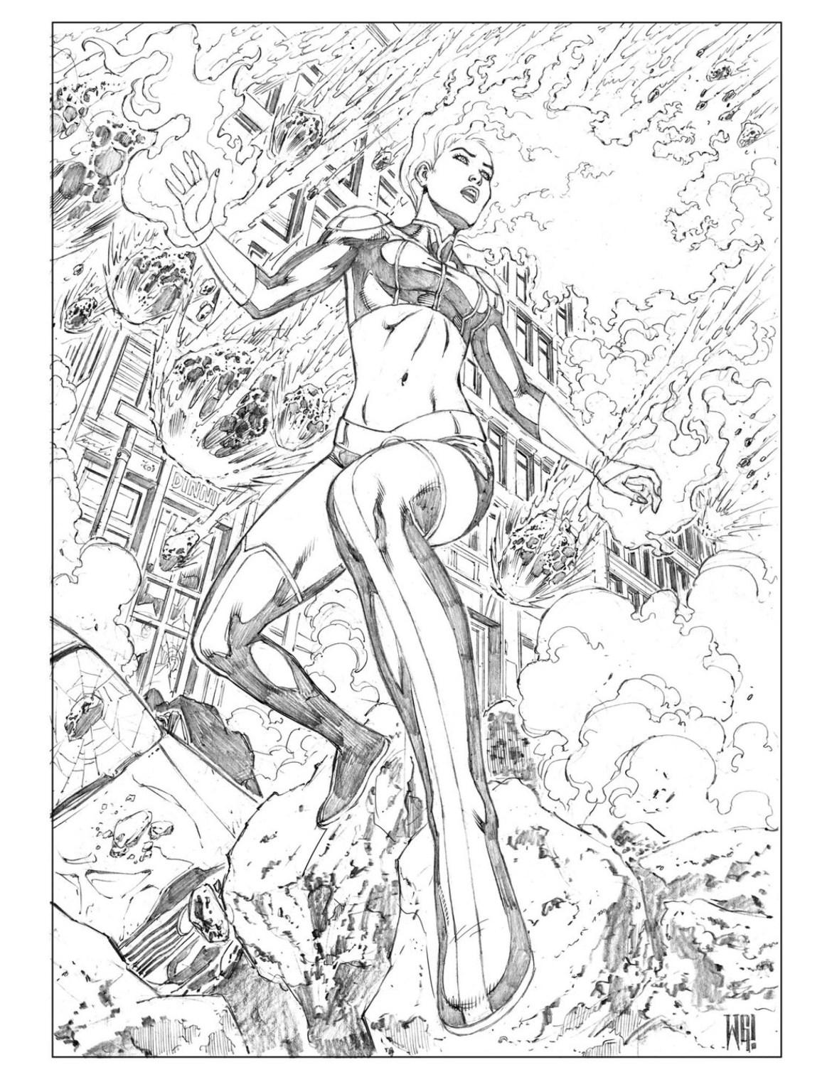 Jean Grey Marvel Phoenix page coloriage par Walter Geovani