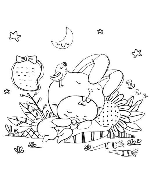 Personnage bébé lapin mignon adult coloring sheet