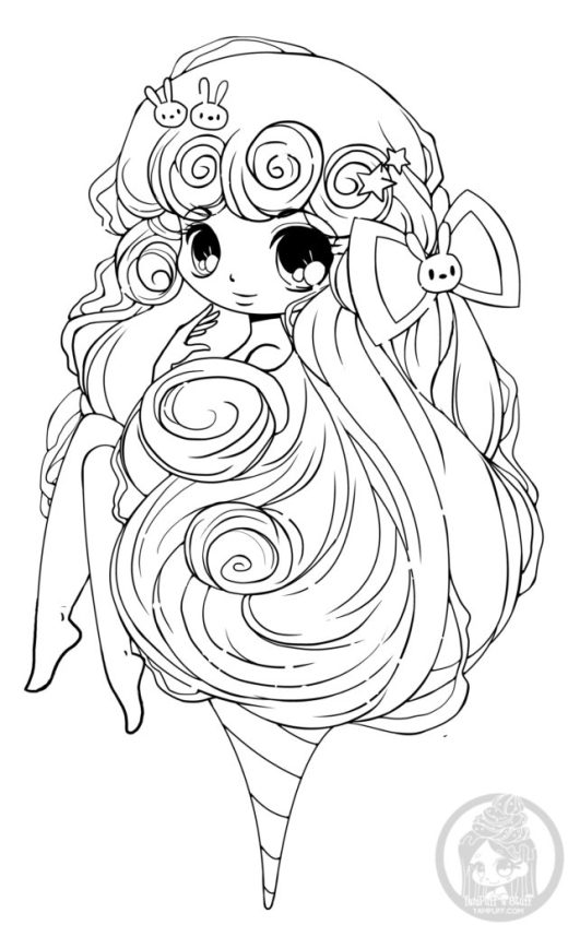Cotton candy chibi girl YamPuff art therapy facebook