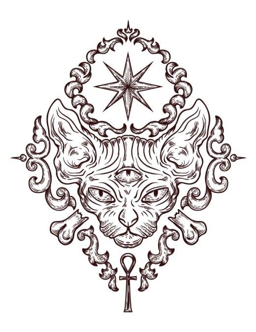 Coloriage chat egyptien dessin gratuit à imprimer