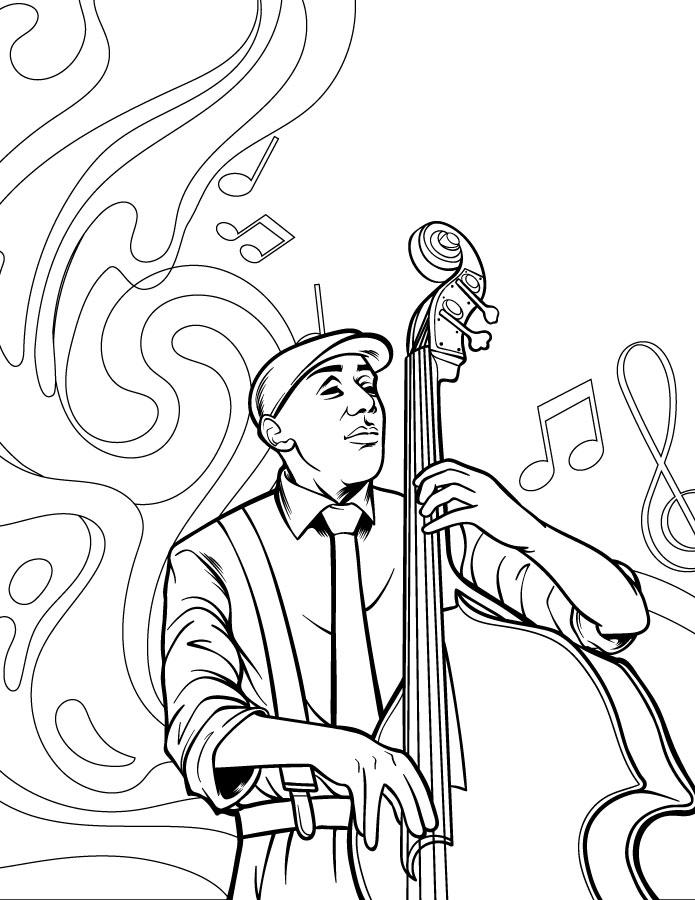 Musique jazz violoncelle coloriage en ligne gratuit