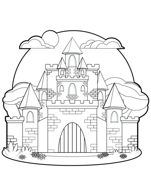 Chateau de princesse dessin pour coloriage art thérapie