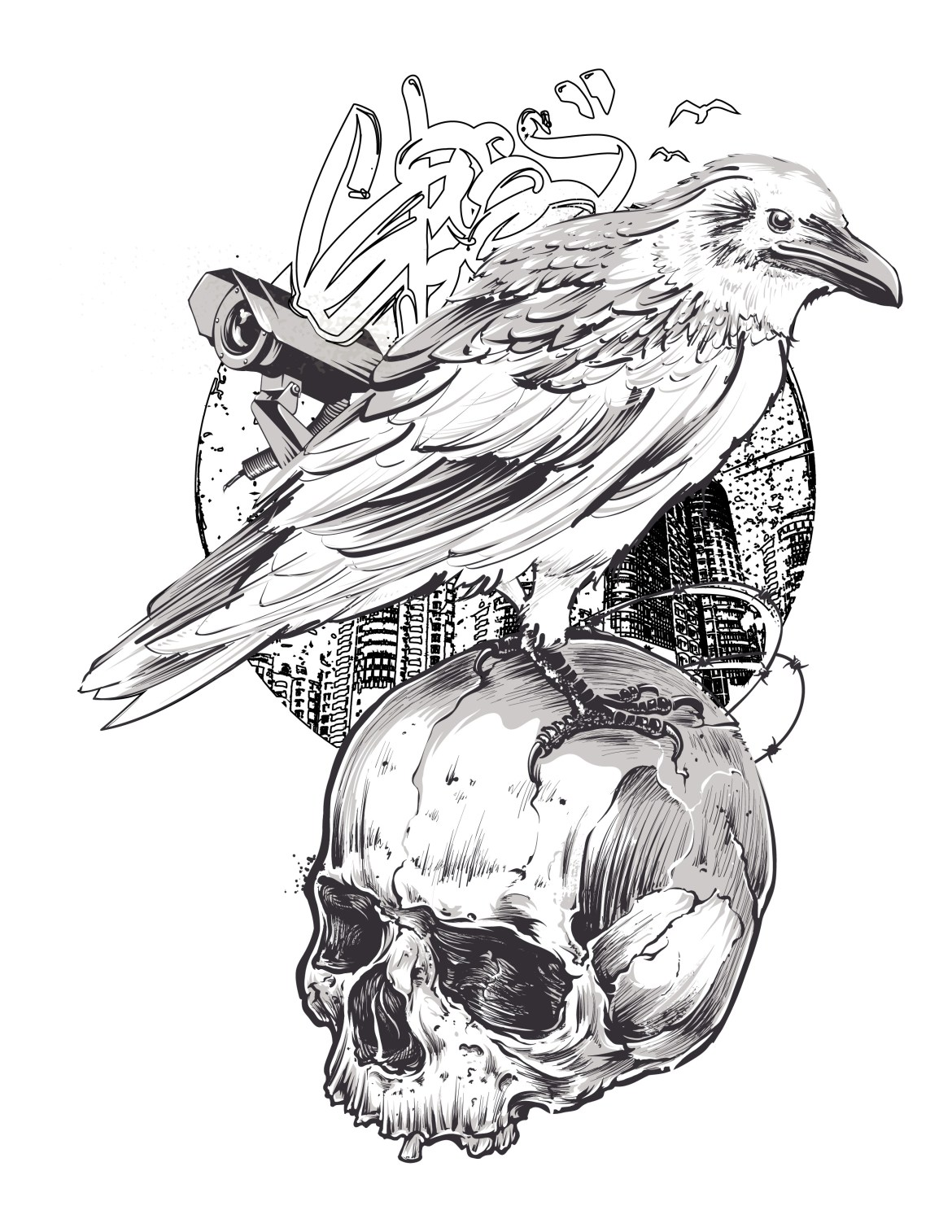 Halloween dessin pour coloriage adulte grayscale