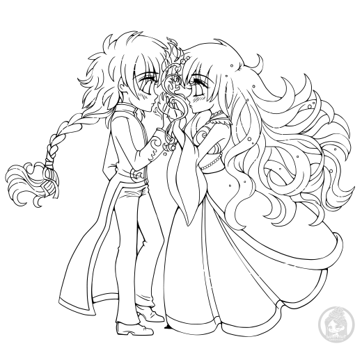 Coloriage princesse Firey and Watery à imprimer par YamPuff