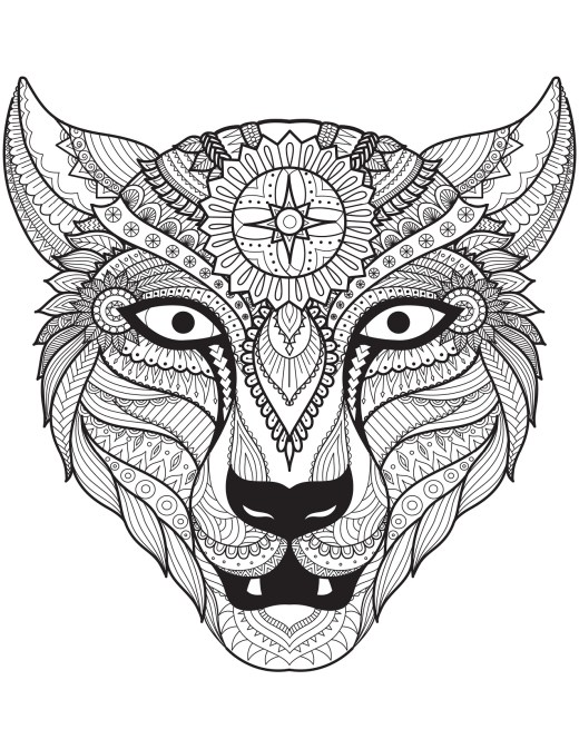 Dessin de loup très difficile à imprimer de Bimbimkha