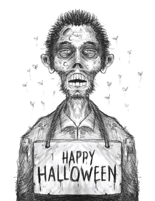 Halloween image drôle zombie coloriage à imprimer