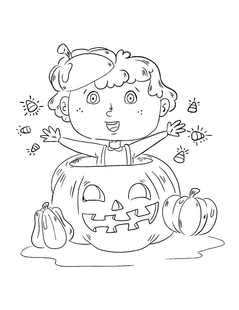 Joyeux Halloween image dessin enfant à colorier