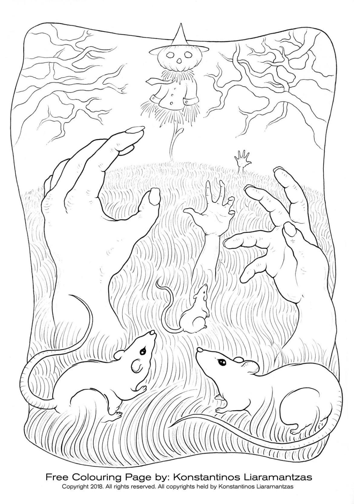 Page zombies halloween pour dessiner par Konstantinos Liaramantzas