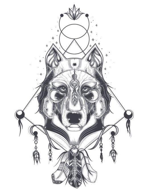 Imprimer dessin totem animaux gratuit loup astrologie