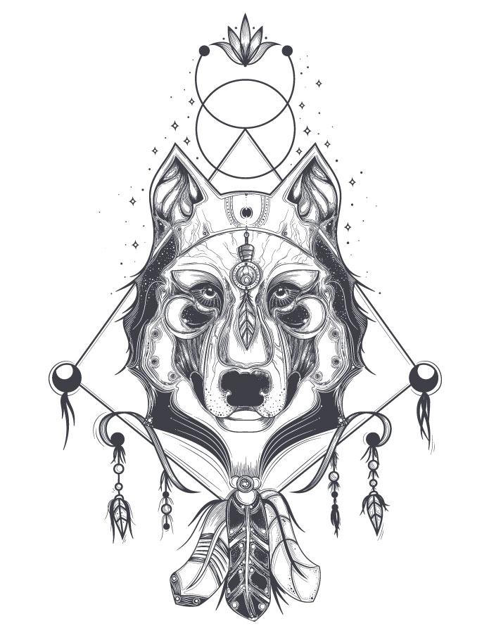 Imprimer dessin totem animaux gratuit loup astrologie - Artherapie.ca