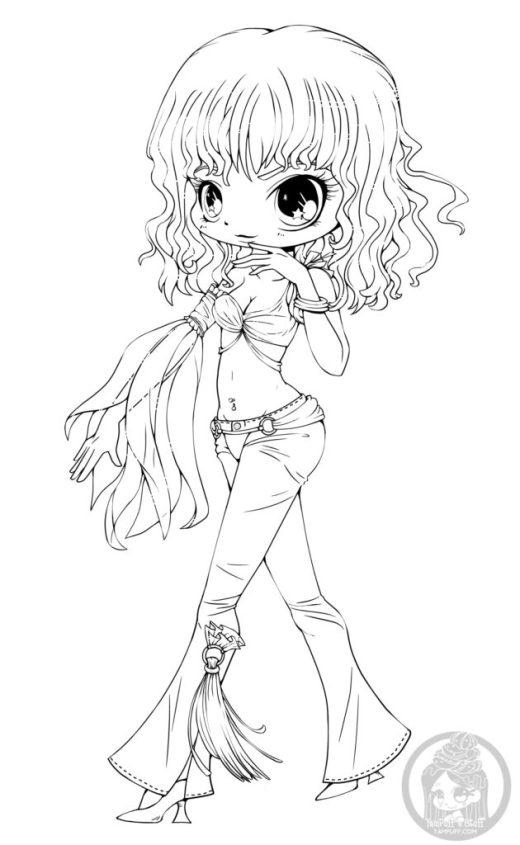 Chibi Britney Spears coloriage fille vedette à imprimer