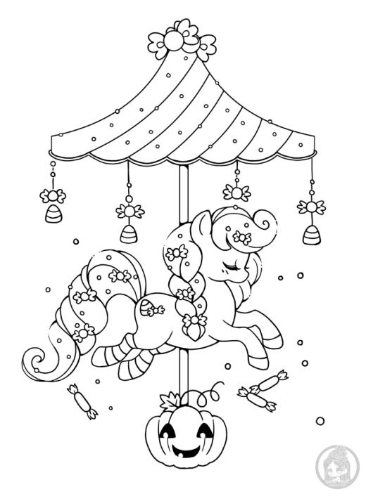Carousel Halloween dessin a colorier gratuit par YamPuff