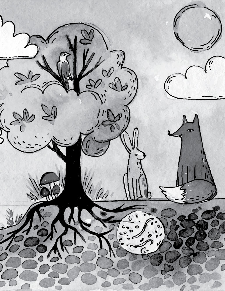 Fable à dessiner Le renard et le lapin jeux coloriage pour enfant