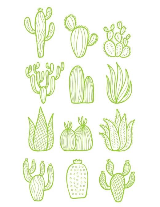 Dessin cactus mignon stamp pour carte à imprimer