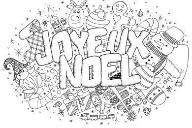 Joyeux Noël doodle coloriage à imprimer par Azyrielle