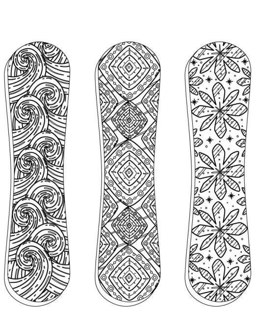 Sport hiver à colorier Planche à neige snowboarding