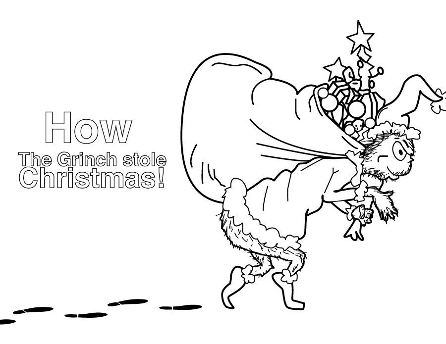 Dessin à colorier Le Grinch vole Noël artherapie