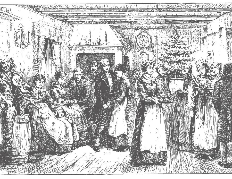 Noël en famille dessin en ligne vintage pour imprimer