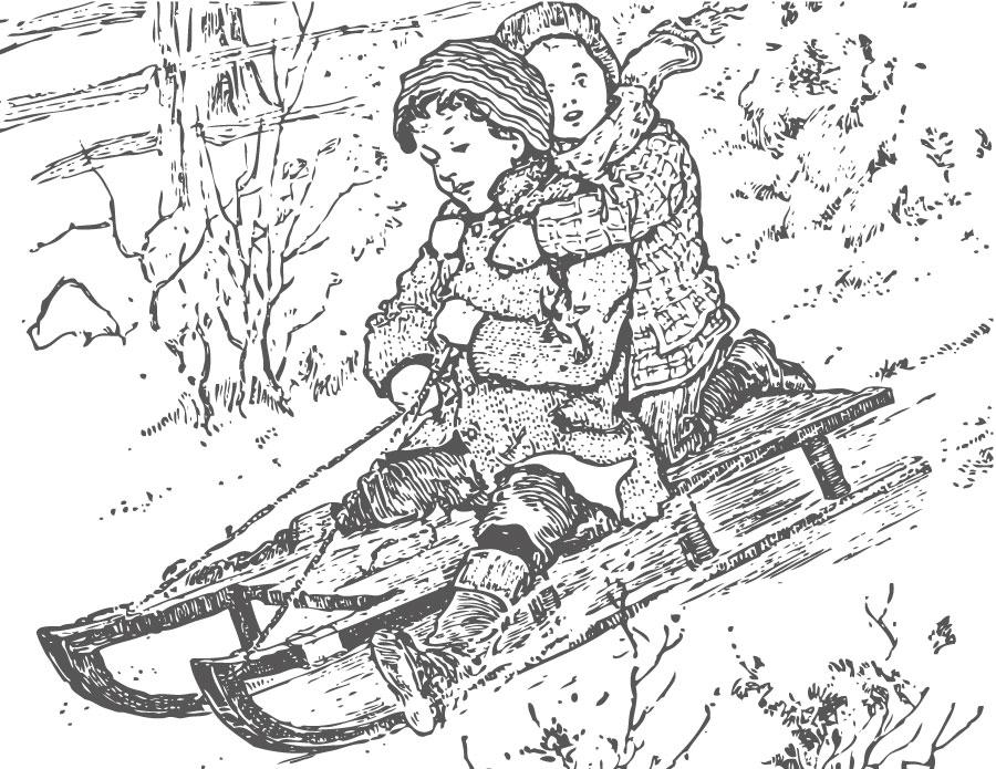 Photo vintage à imprimer traîneau et enfants coloriage hiver