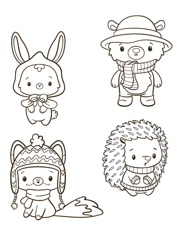 Stamp gratuit animaux d'hiver mini coloriage