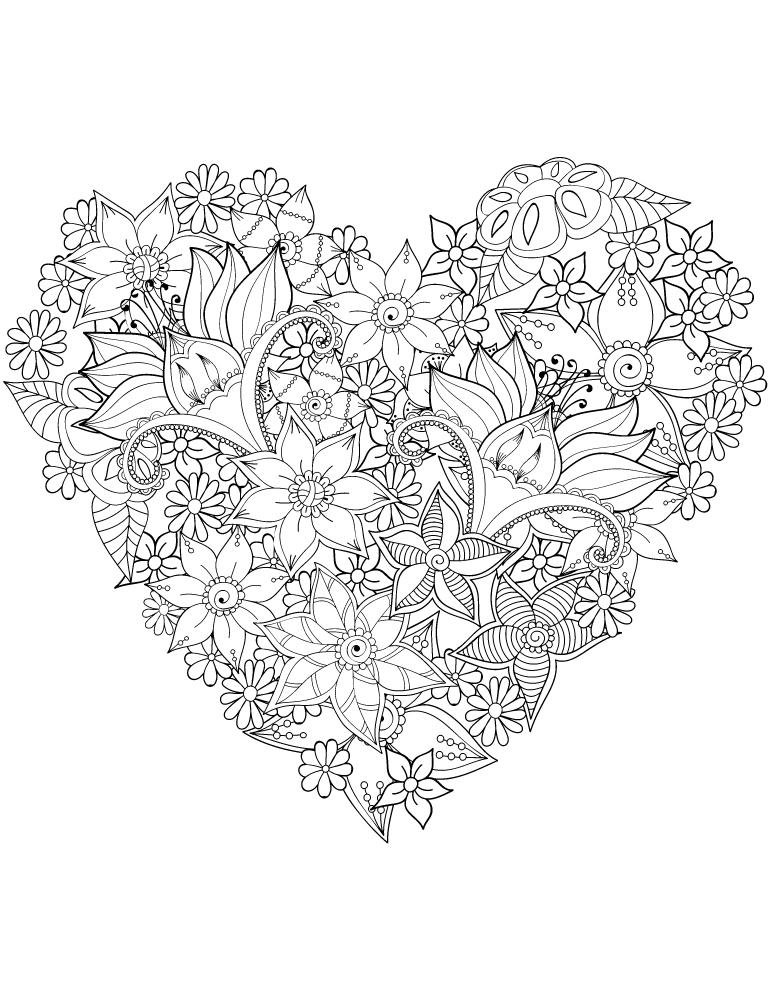 Coeur très difficile fleurs coloriage st Valentin