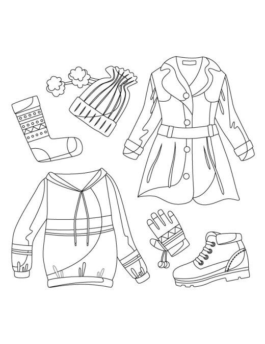 Vêtement mode hiver à colorier gratuit
