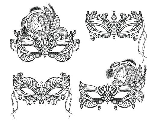 Artherapie coloriage difficile masque à plumes