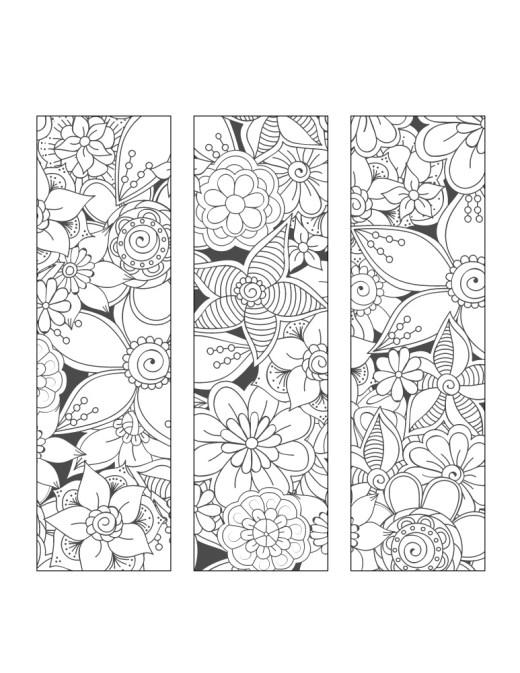 Fleurs signet à imprimer pour dessiner