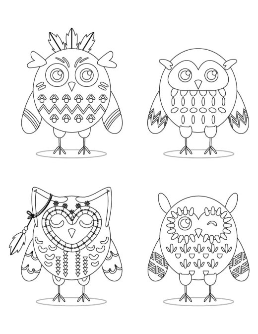 Stamp gratuit hiboux tribal à dessiner