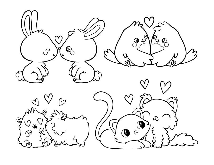 Kawaii animaux amoureux à colorier