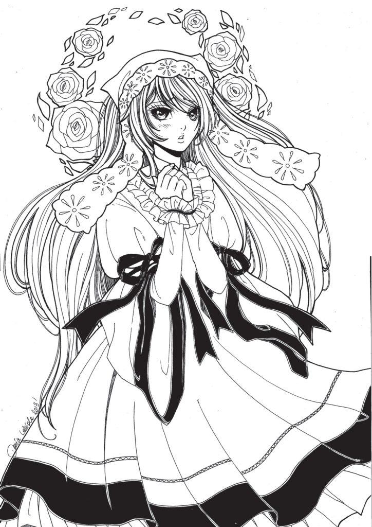 Personnage kawaii à colorier par Dar-Chan