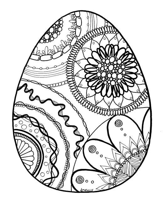 Coloriage difficile oeuf de Pâques