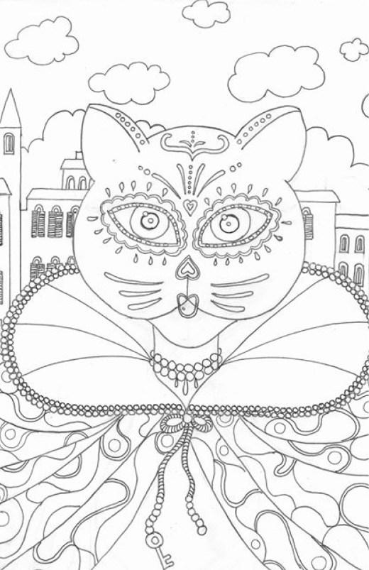 Dessin chat mascarade par Marie Claude Fontaine