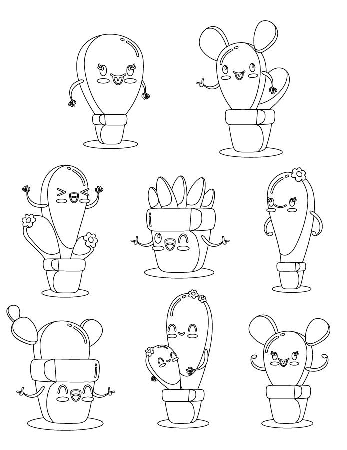 Dessin Cactus Kawaii Pour Imprimer Artherapie Ca