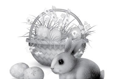 Coloriage adulte grayscale lapin Pâques