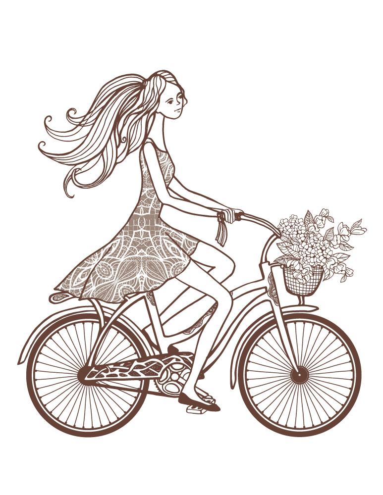 Dessin coloriage gratuit bicyclette printemps