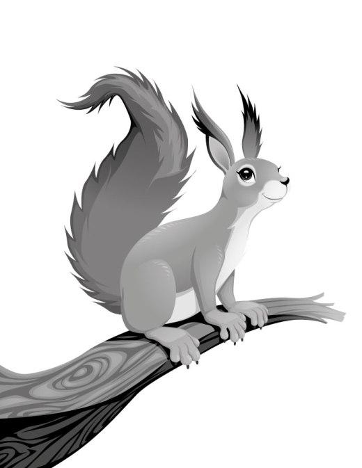 Page grayscale écureuil dessin animaux