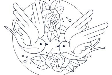Tattoo oiseaux flowerpower 90 gratuit