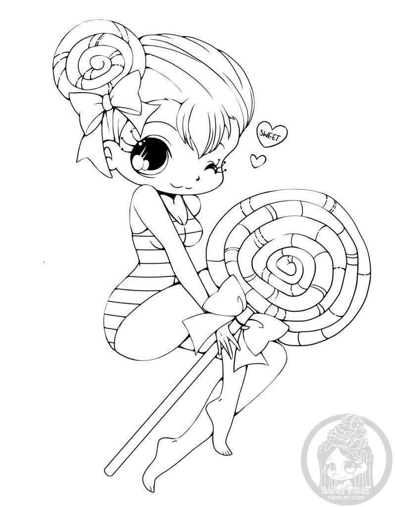 Manga kawaii coloriage gratuit par YamPuff