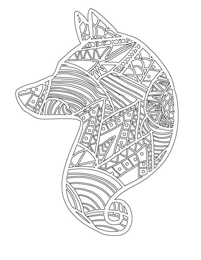 Animal affiche loup à colorier gratuit