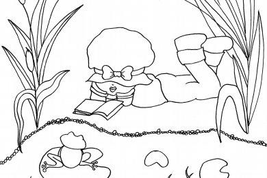 Adorable fillette à colorier par Leen Margot