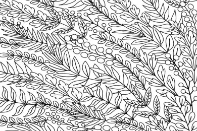 Feuilles et fleurs dessin adulte
