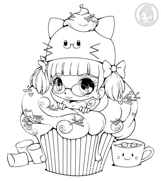 Colorier kawaii cupcake gratuit