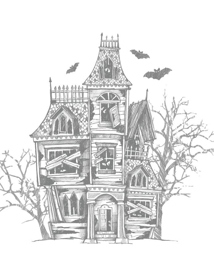Maison hantée à colorier gratuitement