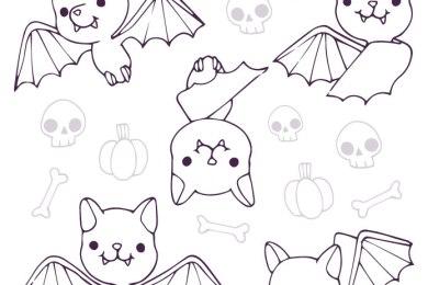 Adorable Chauve-souris coloriage halloween
