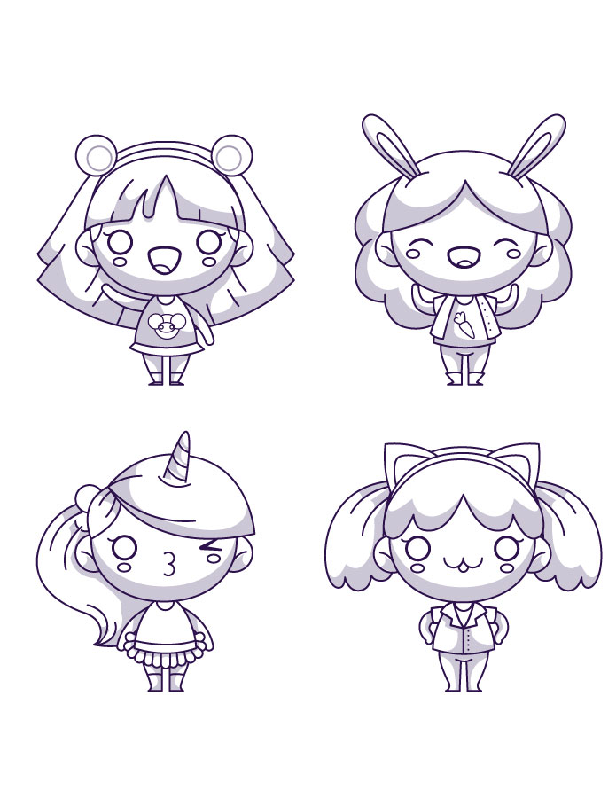 Coloriage Fille Kawaii Manga A Imprimer Artherapie Ca
